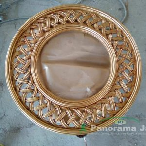 Cermin Model Bulat Jati
